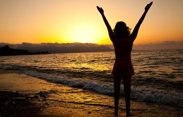 Young girl is enjoying the freedom