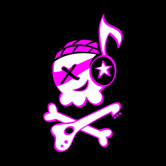 Funny skull symbol for punk or rock music