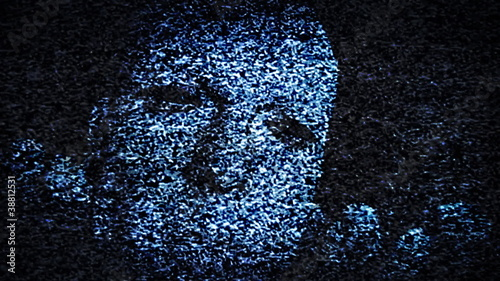 Man's Face in TV Static