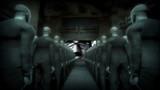 Human Cyborgs Watching Screen with Propaganda Man poster