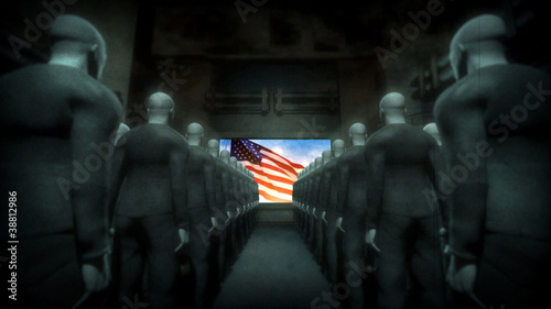 Human Cyborgs Watching Screen with USA Flag