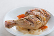 Roast chicken with onion and tomato