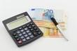 Banconote calcolatrice penna