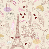 Seamless background with different Paris elements
