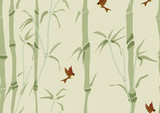 Seamless background with bamboo and birds - 38815166