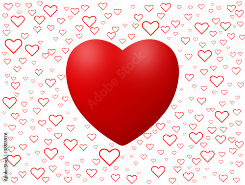 Love background with hearts isolated on white