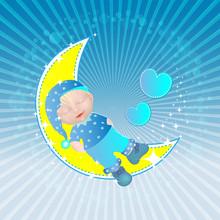 Bebé - schläft am Mond - Junge