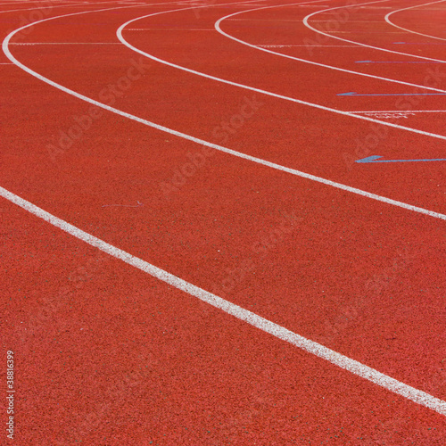 Curve of a Red Running Track