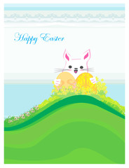 Illustration of happy Easter bunny carrying egg