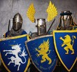 Three medieval knights  on grey background.