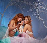 Elves in magical winter forest with lantern. poster