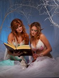 Elves in magical  forest with a book. poster