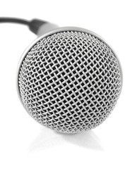 grey metallic microphone with cable