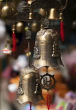 Traditional asian bells at the market place.
