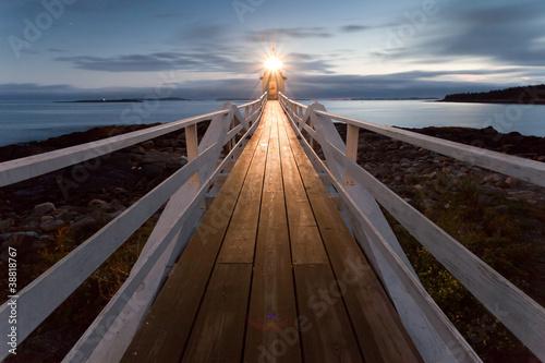 obraz PCV Marshall Point Lighthouse o zachodzie słońca, Maine, USA