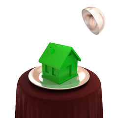 Green house on a silver dish.