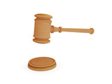 Wooden lawyer's hammer.