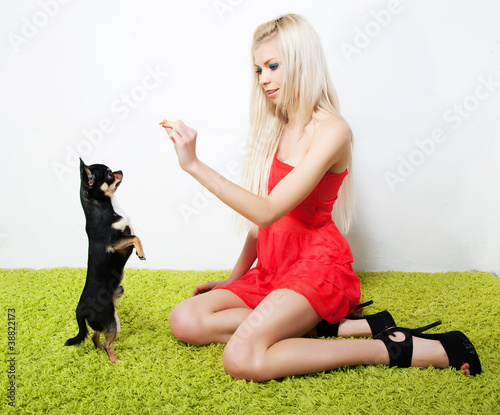Lovely sexy girl blonde with her friend - little black puppy
