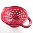 Red colander 3D illustration isolated on white background