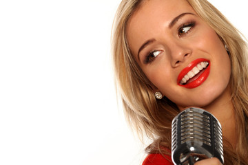 Beautiful Singer With Microphone