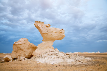 The limestone formation rocks in the White Desert, Egypt