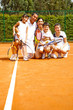Family at the tennis court