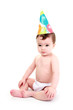 Cute baby wearing party hat