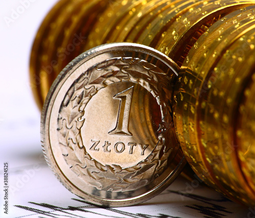 Extremely close up view of Poland currency