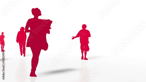 Moving Through Crowd of People 3D Vector
