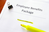 employee benefits document with highlighed text poster
