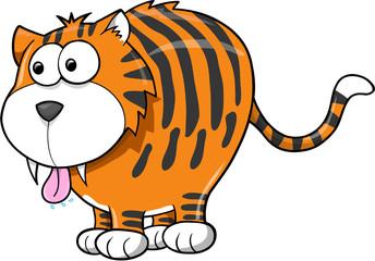Cute Goofy Tiger Animal Vector Illustration Art