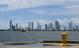 Cartagena skyline from container port poster