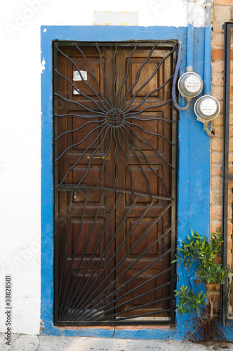 Old wooden door with metal screen