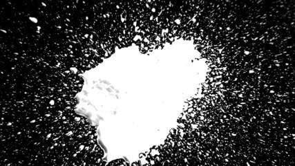 Ink Drop Splatter (White on Black)