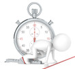 3D little human character . Stopwatch Red Theme color