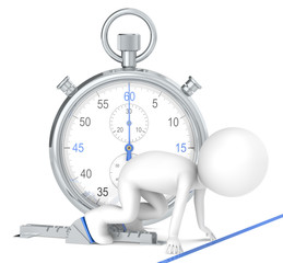 3D little human character. Stopwatch Blue color.