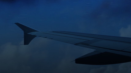 Flying on a Jet Plane Through Storm