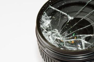 Broken camera lens .