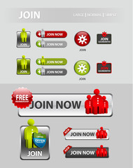 Join now button, user registration icons and buttons