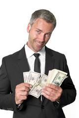 Banker beim zählen von Dollars