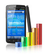 Smartphone with stock market application and bar chart