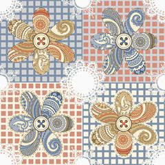 vector seamless textile background with flowers, buttons, and na