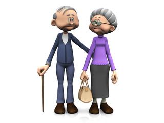 Elderly cartoon couple.