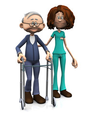 Cartoon nurse helping older man with walker.