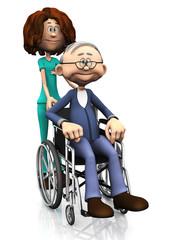Cartoon nurse helping older man in wheelchair.