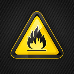 Hazard warning triangle highly flammable warning sign