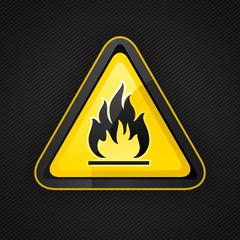 Hazard warning triangle highly flammable warning sign