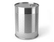 Boite de conserve métallique sur fond blanc 1