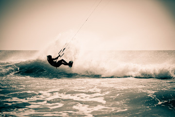 Kitesurfing in Andalusia, Spain.