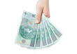 polish banknotes hundred in hands